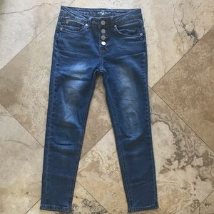 7 For all mankind ankle skinny exposed button fly